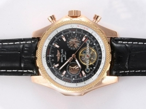 Fancy Breitling for Bentley Tourbillon Automatic Gold Casing with Black Dial AAA Watches [K8G3]