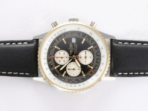 Popular Breitling Navitimer Working Chronograph Two Tone Case with Black Dial AAA Watches [G3G8]