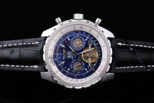 Vintage Breitling Bentley Tourbillon Automatic Silver Case with Blue Dial AAA Watches [S1J4]
