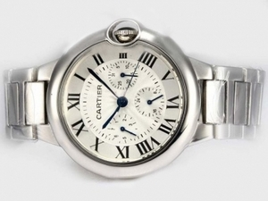 Cool Cartier Ballon Bleu de Cartier Chronograph Automatic with White Dial AAA Watches [G9X2]