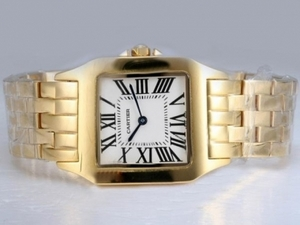 Cool Cartier Montre Santos Demoiselle Man Size Full Gold with White Dial AAA Watches [O1Q5]