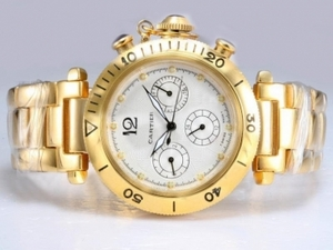 Cool Cartier Pasha Chronograph Automatic Full Gold with White Dial AAA Watches [G2B6]
