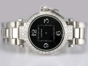 Cool Cartier Pasha Diamond Bezel with Black Dial AAA Watches [M5B9]
