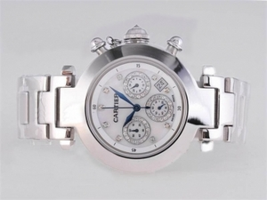 Cool Cartier Pasha Working Chronograph Diamond Marking with White Dial AAA Watches [K2P4]