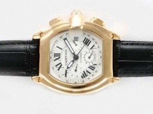Case cool Cartier Roadster Chronographe Automatique Or avec cadran blanc Montres AAA [V7L7]