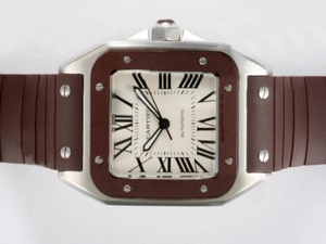 Cool Cartier Santos 100 Automatic with Brown Bezel and Rubber Strap AAA Watches [W1H3]