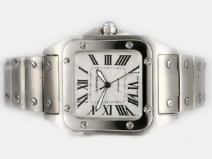 Cool Cartier Santos 100 Automatic with White Dial-Medium Size 34MM AAA Watches [K3N4]