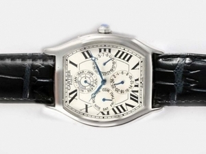 Cool Cartier Tortue Quantieme Perpetual Automatic with White Dial AAA Watches [R4S9]