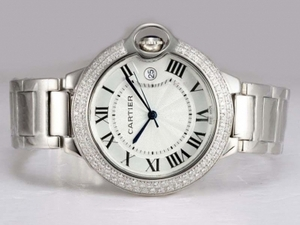 Fancy Cartier Ballon Bleu de Cartier Diamond Bezel with White Dial AAA Watches [U9K3]