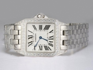 Fancy Cartier Montre Santos Demoiselle Diamond Bezel with White Dial AAA Watches [H7F3]
