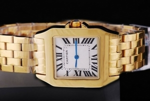 Fancy Cartier Montre Santos Demoiselle Man Size Full Gold with White Dial AAA Watches [I4A3]