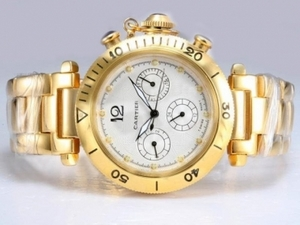 Fancy Cartier Pasha Chronograph Automatic Full Gold with White Dial AAA Watches [K1D4]