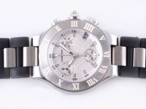 Fancy Cartier Pasha Must de 21 Working Chronograph with Black-Lady Size AAA Watches [I4T8]