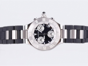 Fancy Cartier Pasha Must de 21 Working Chronograph with Black-Lady Size AAA Watches [C8F3]