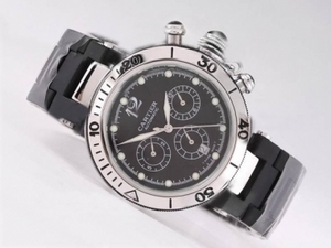 Fancy Cartier Pasha Seatimer Chronograph Automatic with Black Dial AAA Watches [P9X7]