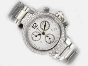 Fancy Cartier Pasha Working Chronograph Diamond Bezel with White Dial AAA Watches [V2R3]