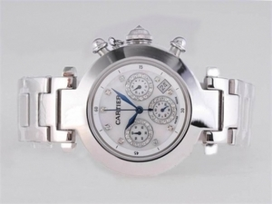 Fancy Cartier Pasha Working Chronograph Diamond Marking with White Dial AAA Watches [N7J5]