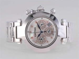 Fancy Cartier Pasha Working Chronograph Diamond Marking with MOP Dial AAA Watches [M8X3]