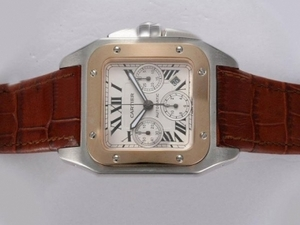 Fancy Cartier Santos 100 Chronograph Asia Valjoux 7750 Movement Two Tone AAA Watches [U7M3]