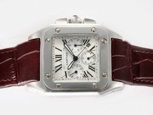 Fancy Cartier Santos 100 Chronograph Automatic with White Dial AAA Watches [A8G1]