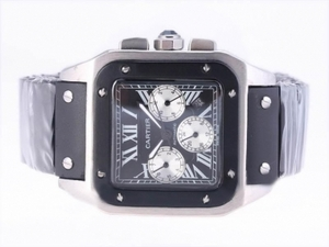 Fancy Cartier Santos 100 Chronograph Automatic with Black Dial-Rubber Strap AAA Watches [A8V7]