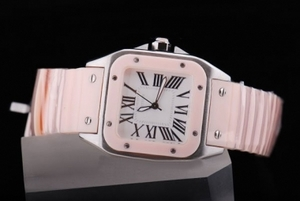 Fancy Cartier Santos 100 Gold Case with White Dial- Pink Strap Lady Size AAA Watches [D5P7]