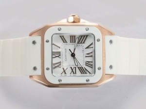 Fancy Cartier Santos 100 Gold Case with White Dial and Bezel-White Rubber Strap AAA Watches [B2X7]