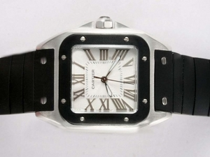 Fancy Cartier Santos 100 White Dial with Black Bezel- Rubber Strap Lady Size AAA Watches [X7H4]