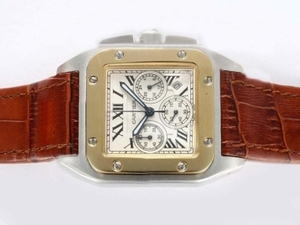 Fancy Cartier Santos 100 Working Chronograph Two Tone with White Dial AAA Watches [N9U8]