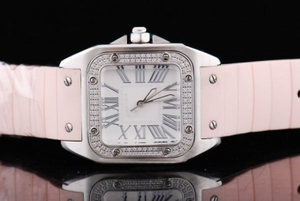 Fancy Cartier Santos 100 quartz with Diamond Bezel and White Case AAA Watches [T3W4]