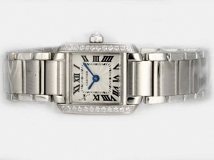 Fancy Cartier Tank with White Dial Diamond Bezel-Lady Model AAA Watches [M5B1]