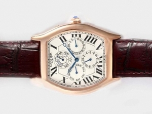 Fancy Cartier Tortue Quantieme Perpetual Automatic Rose Gold Case AAA Watches [B8I9]
