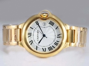 Gorgeous Cartier Ballon Bleu de Cartier Full Gold with White Dial-Medium AAA Watches [J4N4]