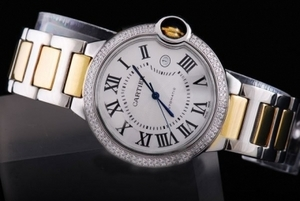 Gorgeous Cartier Ballon Bleu de Cartier with Double Diamond Bezel-Medium AAA Watches [O9E4]
