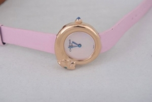 Gorgeous Cartier Classic Quartz Rose Gold Case with White Dial and Pink AAA Watches [D6F1]