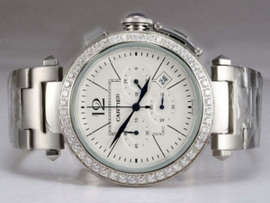 Gorgeous Cartier Pasha Working Chronograph Diamond Bezel with White Dial AAA Watches [H4W8]