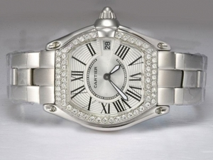 Gorgeous Cartier Roadster Diamond Bezel with White Dial Lady Size AAA Watches [B2I4]