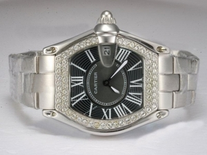 Gorgeous Cartier Roadster Diamond Bezel with Black Dial Lady Size AAA Watches [R7D3]