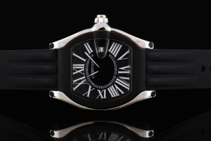 Gorgeous Cartier Roadster Quartz Movement Silver Case with Black Bezel AAA Watches [D2C3]