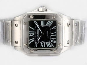 Gorgeous Cartier Santos 100 Automatic with Black Dial-38MM AAA Watches [Q3C6]