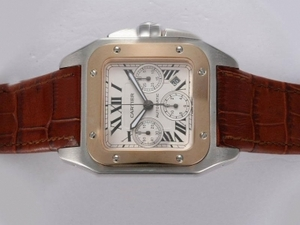 Gorgeous Cartier Santos 100 Chronograph Asia Valjoux 7750 Movement Two Tone AAA Watches [S8X2]