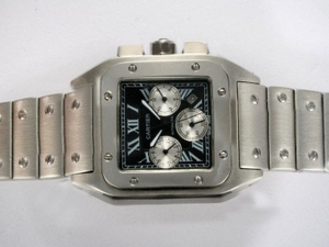 Gorgeous Cartier Santos 100 Chronograph Automatic with Black Dial AAA Watches [S1D2]