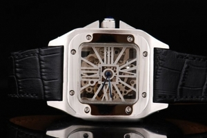 Gorgeous Cartier Santos 100 Manual Winding Movement Silver Case AAA Watches [I4P8]