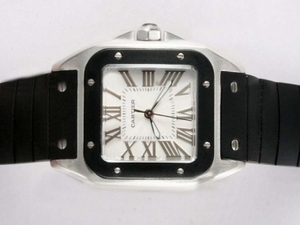 Gorgeous Cartier Santos 100 White Dial with Black Bezel- Rubber Strap Lady Size AAA Watches [F5D1]