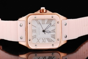 Gorgeous Cartier Santos 100 quartz Rose Gold Case and Pink Bezel AAA Watches [K9D7]