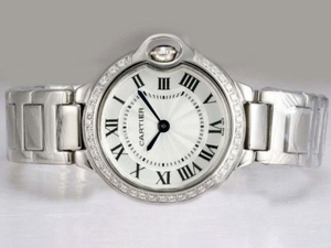 Great Cartier Ballon Bleu de Cartier Diamond Bezel with White Dial Lady Size AAA Watches [J5I3]
