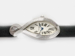 Great Cartier Classic Ladies WG Diamonds/Sapphire Baignoire AAA Watches [L5B9]