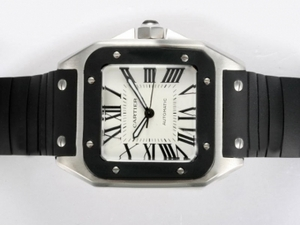 Great Cartier Santos 100 Automatic with Black Bezel and Rubber Strap Strap AAA Watches [E8C9]