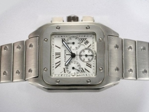 Great Cartier Santos 100 Chronograph Automatic with White Dial AAA Watches [B5D1]