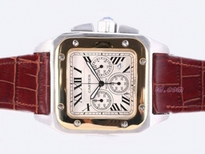Great Cartier Santos 100 Two Tone Working Chronograph AAA Watches [U1J5]